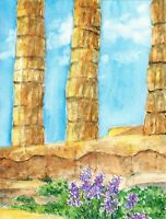 """""""Spring in Attica"""" ORIGINAL signed watercolor painting cape sounion temple greek"""