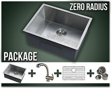 "22"" Sink Faucet Combo Single Bowl Undermount Stainless Kitchen Zero Radius"