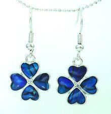 Blue Clover Good Luck FW  Earrings Paua Shell Inlay