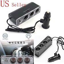 3in1 Way USB Port Car DC Cigarette Lighter Socket Power Adapter Charger Splitter