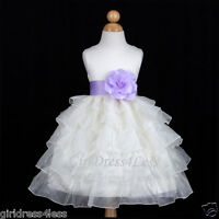 IVORY/LILAC EASTER TIERED PRINCESS WEDDING FLOWER GIRL DRESS 12M 18M 2 4 6 8 10