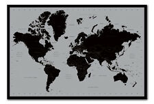 World Map Poster Contemporary Black & Grey Style  Magnetic Notice Board Black Fr