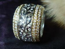 European CZ Cubic Zirconia 18K Two Tone Gold Plated Eternity Band Ring Size 5