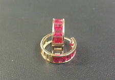 14K Yellow Gold Channel Set Red Ruby Huggie Earrings