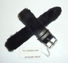 TechnoMarine Handmade Mink Fur Leather Watch Strap Band 17MM Black DTSC03-MINI
