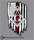 Thin Red Line Firefighter Masons masonic Freemasons American flag sticker decal