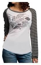 Harley-Davidson Women's Long Sleeve Black and white Shirt stripes Medium