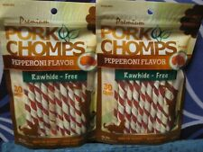 Lot of 2-Scott Pet Products-30 Count Pepperoni Pork Chomps Twists-Rawhide Free!