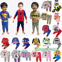 Cartoon Sleepwear Baby Kids Boys Girls Cotton Nightwear Pj's Pyjamas 2pcs Sets