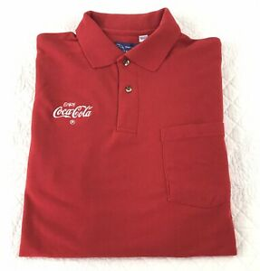 Coca-Cola Employee Red Uniform Polo Shirt Men's Sz LARGE Short Sleeve