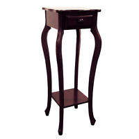 """32.5"""" Tall Wooden Flower Plant Stand with Drawer, Cherry finish"""