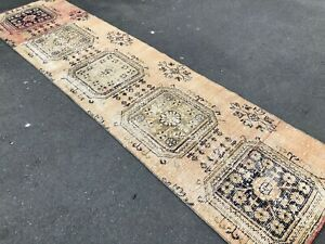 MUTED VINTAGE RUG WITH TRIBAL MEDALLION STYLE ,DISTRESSED LOW PILE RUG