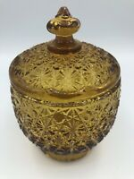 Vintage L.E. Smith AMBER Glass Lidded/Covered Round Candy Dish DAISY&BUTTON