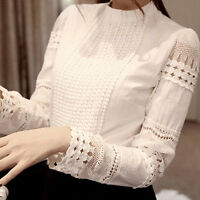 Women's  Lace Hollow Slim Blouses Long Sleeve Crochet Casual White Shirt Tops
