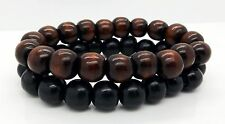 Mens Beads Bracelets Black Brown  2pcs Surfer Handmade Jewellery By TaKuKai