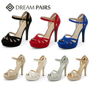 DREAM PAIRS Women Ankle Strap Open Toe High Stiletto Dress Pump Heel Sandals