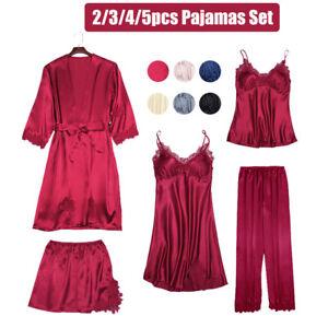 2/3/4/5 Women Pyjamas Set Lace Satin Faux Silk Pajamas PJs Sleepwear Loungewear