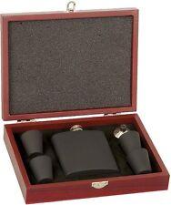 Matte Black Flask Set in Rosewood Case