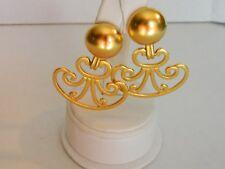 Cori Signed Vintage Drop Dangle Gold Matte Clip Earrings