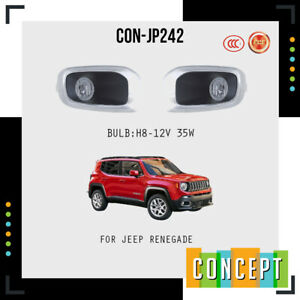 For 2015 2018 Jeep Renegade Fog Lights Lamp with CHROME Grill Bezel L&R Side