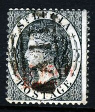 ST LUCIA QV 1883 1d. Black  RPSL CERTIFICATE DOUBLED OVERPRINT REVENUE SG F21b