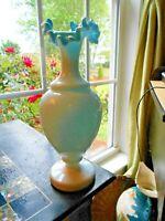 FRENCH OPALINE Vase BLUE BRISTOL GLASS CRIMPED MANTLE VASE VICTORIAN