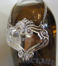 SCOTCH Engraved Fleur Silver Liquor Decanter Label Emblem Tag Nameplate