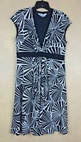 Maggy London Dress Stretch Black & White Short Sleeve Abstract Floral Size 14
