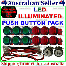 New: 14x LED Illuminated BUTTONS & LED Harness Pack ARCADE or MAME