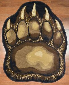 3X5 Area Rug Bear Paw Claw Black Beige Brown Rustic Cabin Lodge Track Decor Cub