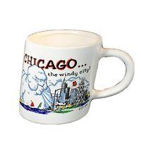 Chicago souvenir coffee mug vintage 1986 cup windy city slanted shape white