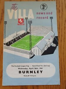 1961 League Cup Semi Final - Aston Villa v Burnley