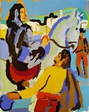 PIERRE AMBROGIANI (1907-1985)GOUACHE AU POCHOIR. SCENE CORSE. AMBROGIANI.