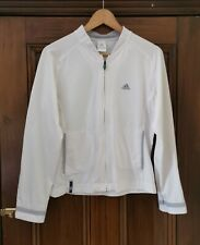Adidas Womens Climaproof Track Jacket Top Sz Ladies 12 White Runing Active Wear