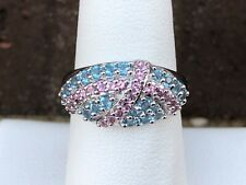 10K WHITE GOLD BLUE AND PINK CZ LADIES RING