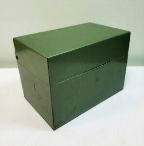 Vintage J. Chein & Co 4 x 6 Green Metal Recipe/Index Card File Storage Box | USA