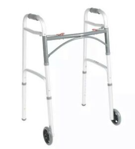 """Brand New Drive Medical 10210-1 Deluxe Two Button Folding Walker with 5"""" Wheels"""