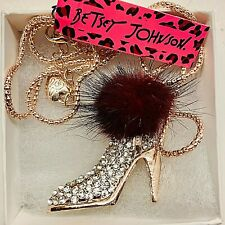 Heels with Rabbit Fur Pendant Betsy Johnson Gold Tone Rhinestone High