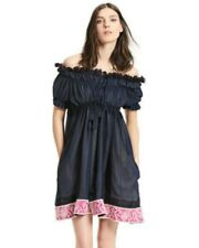 Chloe navy dress-embroidery off the shoulder, pink banded boho hem, AMAZING! 36