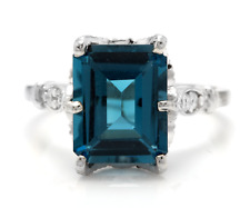 3.78 Carats Natural LONDON BLUE TOPAZ and Diamond 14K White Gold Ring
