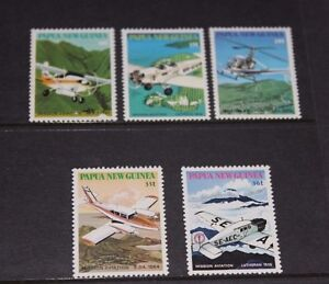 PAPUA NEW GUINEA 1981 PLANES,AIRCRAFT SET OF 5 VERY FINE M/N/H