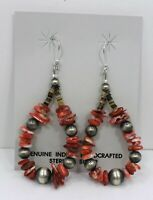 Sterling Silver Navajo Pearl Red Spiny Oyster Chips  Earrings Native American
