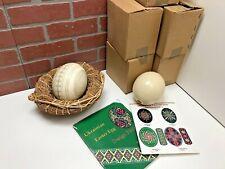 "Lot 6 Vintage Ceramic Ukrainian Ostrich Easter Eggs Collectible 6"" w Basket Rare"