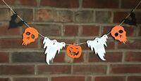 Halloween Bunting hand crafted pumpkins, bats, ghosts, skulls and bat confetti