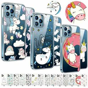 For iPhone 12 Pro Max 11 XR 6s 7 8+ iPod Unicorn Transparent TPU Case Skin Cover