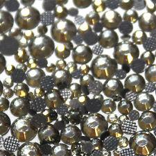 Assortiment de strass gris en verre hotfix s06 + s10 + s16 + s20 n°(103)