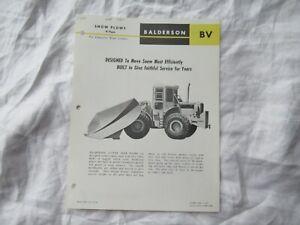 Balderson BV snow plow specification sheet brochure for Caterpillar tractor