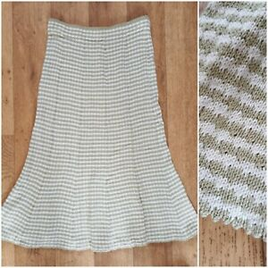 Vintage Hand Knitted Midi Skirt Green Stripe Elastic Waist Scallop Small 6/8 UK