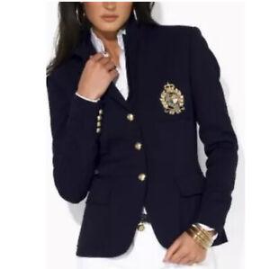 Ralph Lauren Embroidered Gold CREST Crown Pocket Blazer Navy Jacket Logo RLL XS