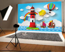 Cartoon Lighthouse Hot Air Balloon 7x5ft Background Photo Props Studio Backdrop